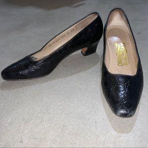 Salvatore Ferragamo Black Low Heels